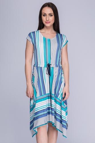 8cbde7b869 Sukienka asymetryczna niebiesko-turkusowe pasy Rumia ...