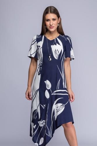 8957082335 Sukienka asymetryczna granatowo-ecru wzór Ingrid Semper