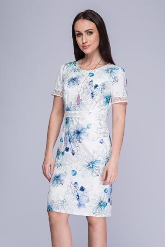 696cb827de Sukienka biała z kwiatowym wzorem Minori ...