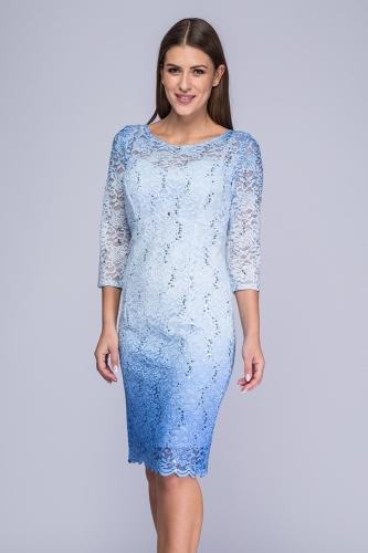 553988926b Sukienka koronkowa cieniowany błękit Carmen Semper