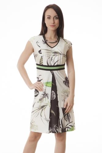 fa3301b625 Suknia koktajlowa Kelly dzianina w zielono-czarne liście