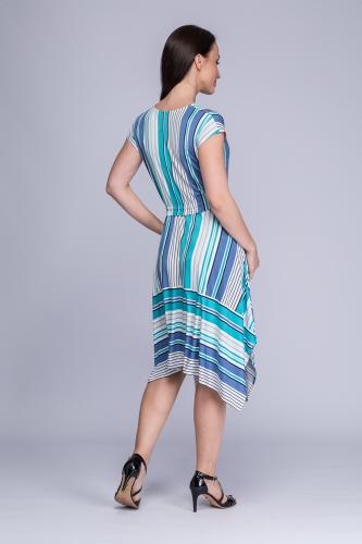 cd59771285 Sukienka asymetryczna niebiesko-turkusowe pasy Rumia Sukienka asymetryczna  niebiesko-turkusowe pasy Rumia