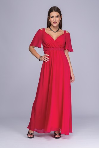 352ee5e4d7 Sukienka amarantowa żorżeta maxi Gella ...