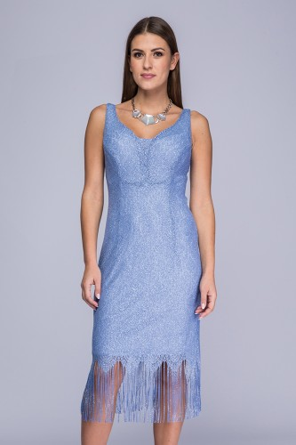 a6b847777c Sukienka niebiesko-srebrzysta koronka Betty