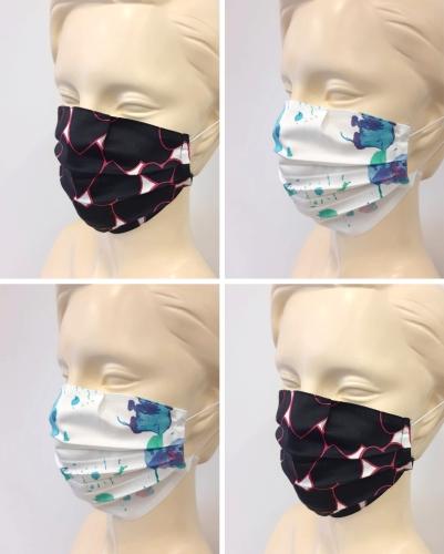 4 maseczki ochronne na twarz, bawełniane, wielorazowe 2 ciemne,2 jasne